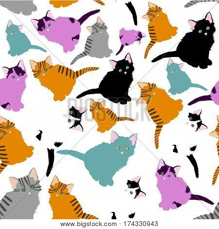 little cats pattern. pattern with cute cartoon doodle cats on white background. Little colorful kittens. Funny animals. Children's illustration. Vector image.