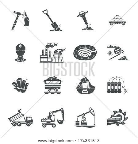 Blast and deep underground continuous mining equipment black icons set with rotating drum abstract isolated vector illustration