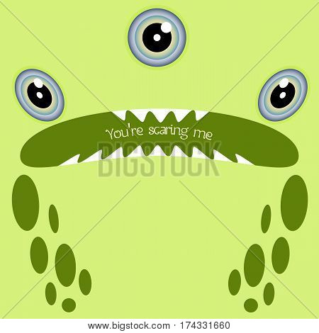 Green three-eyed nervous or scared monster closeup and sample text. Funny face in a cartoon style. Card for your design needs. Vector illustration