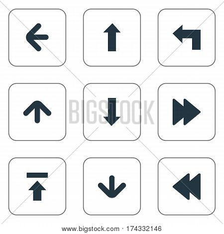 Set Of 9 Simple Indicator Icons. Can Be Found Such Elements As Downwards Pointing, Upward Direction, Downwards Pointing And Other.