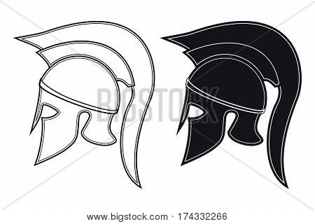 Black And White Vector Illustration Of A Side Silhouette On Ancient Greek Warrior Helmet. Spartan He