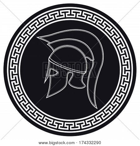 Ancient Greek Helmet With A Crest On The Shield On A White Background. Silhouette Spartan Helmet. Ve