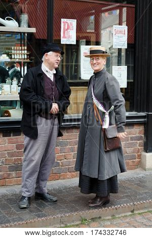 IRONBRIDGE UK - CIRCA 2013: People in period costume at Blists Hill Victorian Museum Shropshire UK