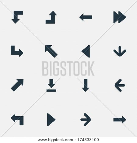Set Of 16 Simple Cursor Icons. Can Be Found Such Elements As Pointer, Downwards Pointing, Pointer And Other.