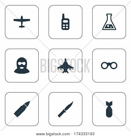 Set Of 9 Simple Terror Icons. Can Be Found Such Elements As Ammunition, Terrorist, Nuke And Other.