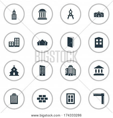 Set Of 16 Simple Construction Icons. Can Be Found Such Elements As Popish, Booth, Structure And Other.