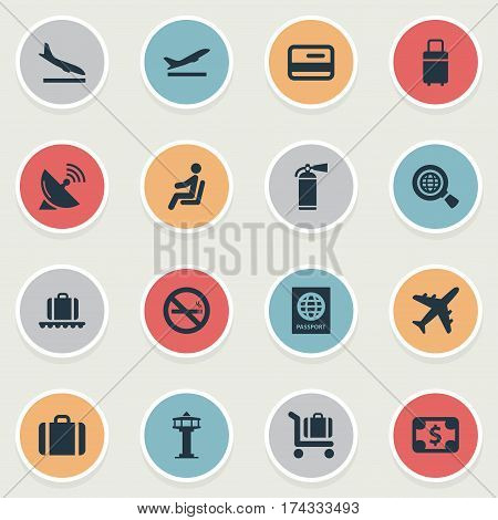 Set Of 16 Simple Plane Icons. Can Be Found Such Elements As Credit Card, Certificate Of Citizenship, Antenna And Other.