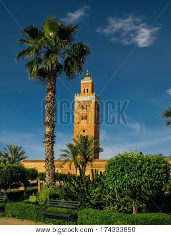 Exterior view to Koutoubia mosque aka Mosque of the Booksellers Marrakesh Morocco