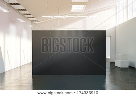 Blank black wall mockup in sunny modern empty gallery 3d rendering. Dark big stand mock up in museum with contemporary art exhibitions. Large hall interior with wide grey banner exposition template.