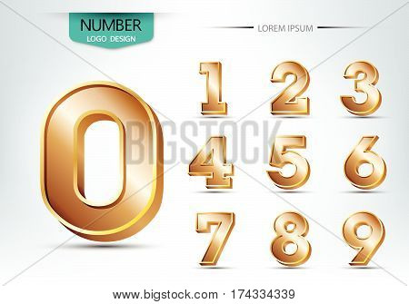 Realistic Three Dimensional Number Typeset Vector