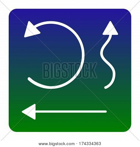 Simple set to Interface Arrows Vector. White icon at green-blue gradient square with rounded corners on white background. Isolated.