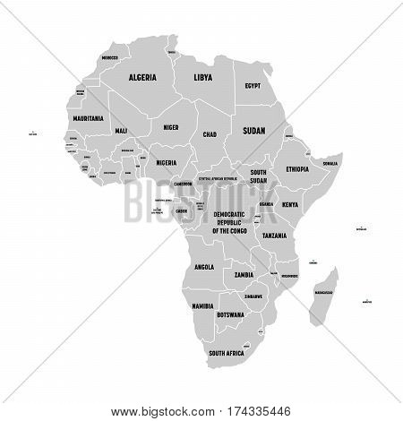 Simple flat grey map of Africa continent with national borders and country name labels on white background. Vector illustration.