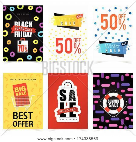 Poster Of Sale In Color Set Graphic Illustration