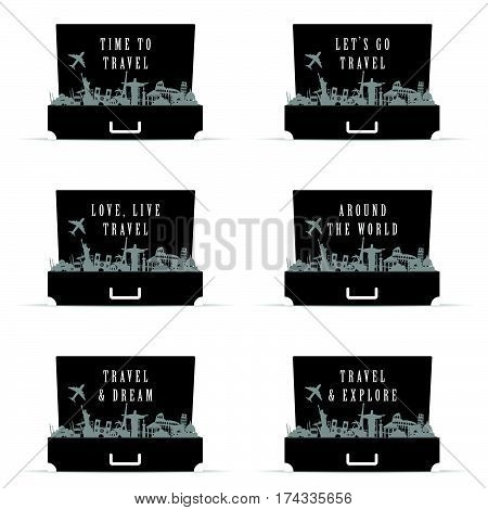 Travel Icon Set In Bag Paradise In Black Color Illustration