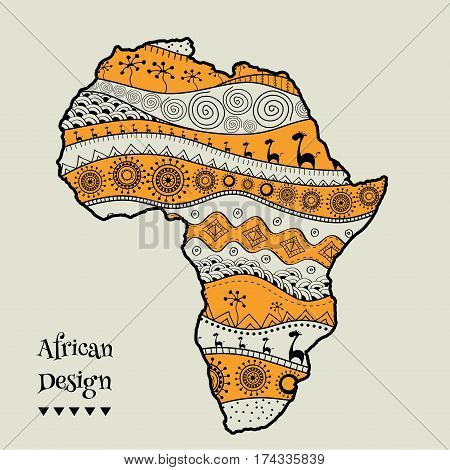 Textured Vector Map Of Africa. Hand-drawn Ethno Pattern