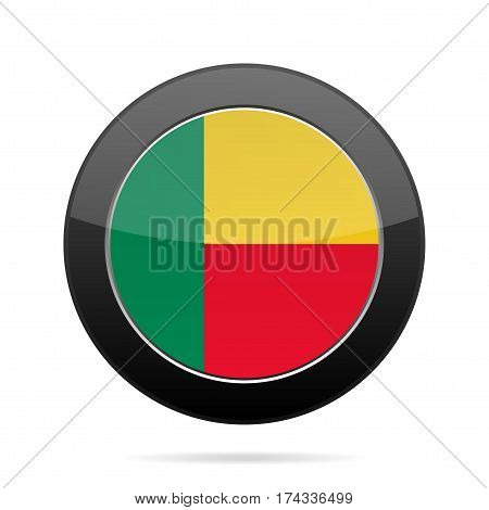 National flag of Benin. Shiny black round button with shadow.