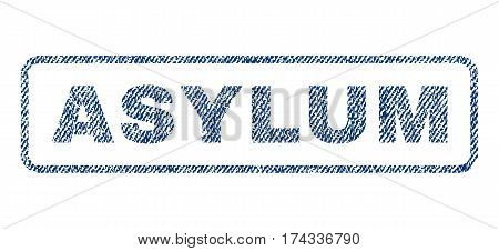 Asylum text textile seal stamp watermark. Blue jeans fabric vectorized texture. Vector caption inside rounded rectangular shape. Rubber sticker with fiber textile structure.