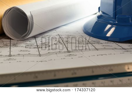 Workplace Of Architect - Architect Rolls And Plans.architectural Plan,technical Project Drawing. Eng