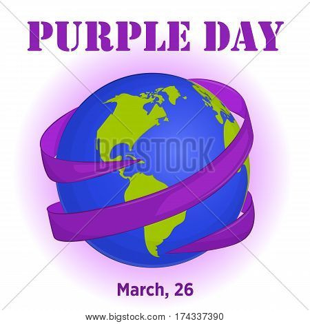 Purple Day background with ribbon around globe in simple cartoon style for World Epilepsy Day. Vector illustration for you design, card, banner, poster, calendar or placard template. March 26. Holiday Collection.
