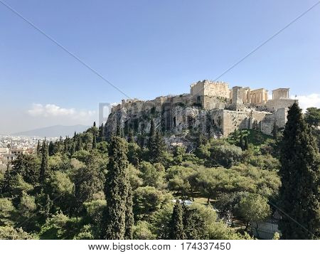 ATHENS - FEBRUARY 28, 2017: The Acropolis of Athens viewed from the West on Areopagus Hill, also know as Mars Hill, in central Athens, Greece.