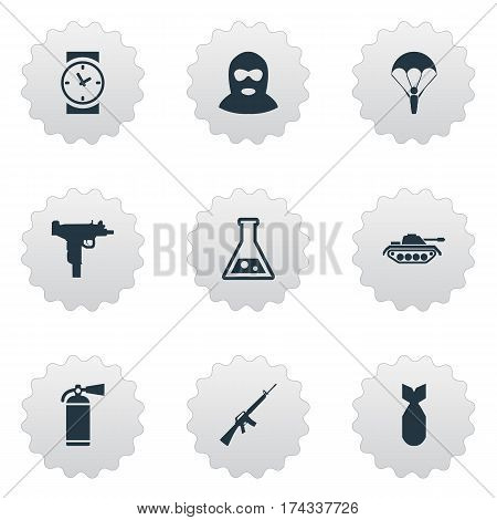 Set Of 9 Simple War Icons. Can Be Found Such Elements As Extinguisher, Heavy Weapon, Watch And Other.