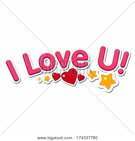 Inscription I love u on a white background. Vector Valentine s Day holiday card.