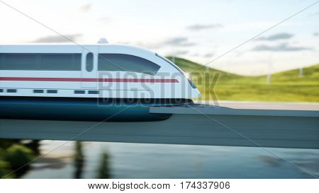 futuristic, modern train passing on mono rail. Ecological future concept. Aerial nature view. 3d rendering