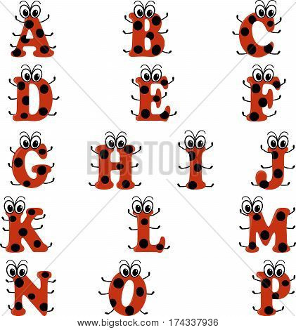 Alphabet in ladybug style, english letters fron A to P in red and black design, isolated on white