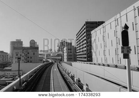 Yurikamome Rail Track In Tokyo, Japan