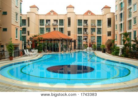 Pool And A Clubhouse In A Condo
