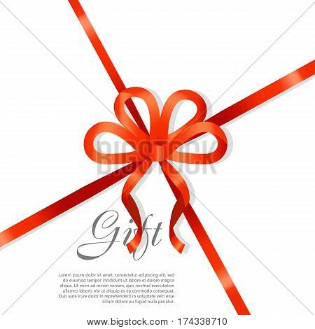 Card vector illustration on white background, luxury wide gift bow with red knot or ribbon and space frame for text, gift wrapping template for banner, poster design. Simple cartoon style Flat design