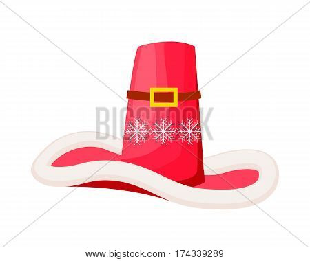 Santa Claus cowboy hat with snowflakes isolated on white. Winter fur woolen cap with buckle. Father Christmas hat flat icon winter snowboard accessory in cartoon style vector illustration
