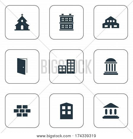 Set Of 9 Simple Architecture Icons. Can Be Found Such Elements As Popish, Booth, Block And Other.