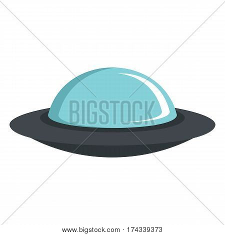 Flat cartoon spaceship ufo object isolated on white background. Vector illustration. Element of banners infographics and labels.