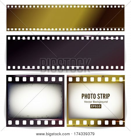 Photo Strip Vector. Realistic Empty Frame Strip Blank. Grunge Template Isolated On Transparent Background.