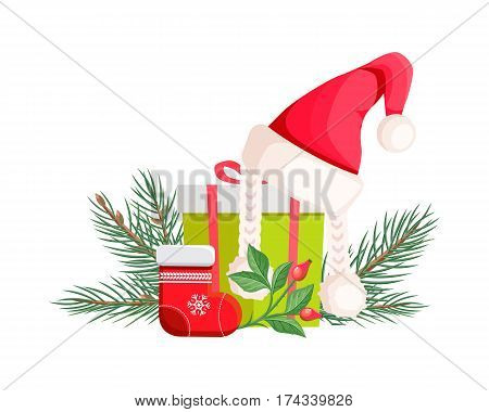 Santa Claus hat lying on green gift bow with red ribbon near red xmas sock and evergreen tree with branch of canker-rose. Vector illustration set with cartoon Christmas elements in flat design