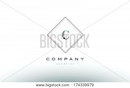 C Retro Vintage Black White Alphabet Letter Logo