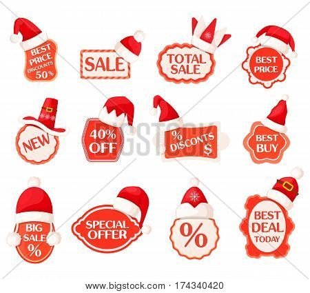 Sale and discounts labels with percents inside and Santa hats on tops vector collection in cartoon design. Best day today and special offer inscriptions on adorned tags with seasonal winter discounts