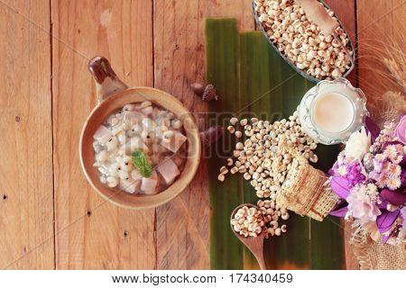 Millet and taro with coconut milk ,Thai dessert