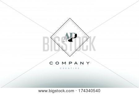 Ap A P  Retro Vintage Black White Alphabet Letter Logo