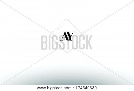Av A V  Retro Vintage Black White Alphabet Letter Logo