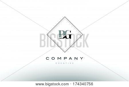 Bg B G  Retro Vintage Black White Alphabet Letter Logo