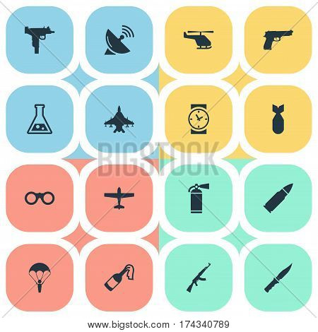 Set Of 16 Simple Battle Icons. Can Be Found Such Elements As Nuke, Helicopter, Ammunition And Other.
