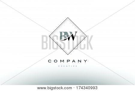 Bw B W  Retro Vintage Black White Alphabet Letter Logo