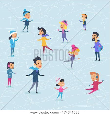 Cartoon smiling people of different ages on icerink in flat design. Christmas entertainments in city in winter time. Vector illustration of happy people spending New Year holidays outdoors.