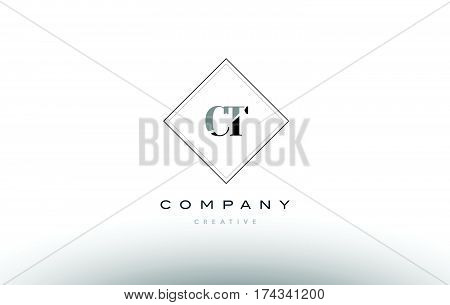 Ct C T  Retro Vintage Black White Alphabet Letter Logo