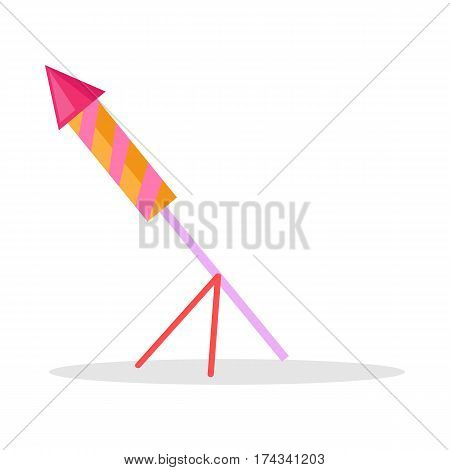 Colourful sky kind of pyrotechnics with fire for celebrating New Year and Christmas holidays and parties in cartoon style. Christmas firework rocket vector icon on stand isolated on white background.