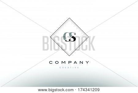 Cs C S  Retro Vintage Black White Alphabet Letter Logo