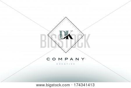 Dk D K  Retro Vintage Black White Alphabet Letter Logo