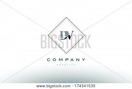 Dv D V  Retro Vintage Black White Alphabet Letter Logo